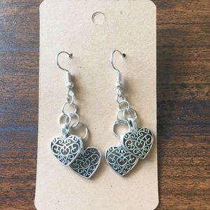 Double Heart Earrings Silver Colored Handmade